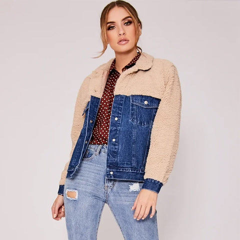 Lapel fur patchwork denim jackets