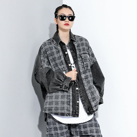 Plaid patchwork washed denim coats