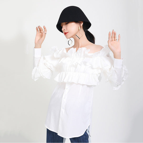 Off-the-shoulder ruffled blouses