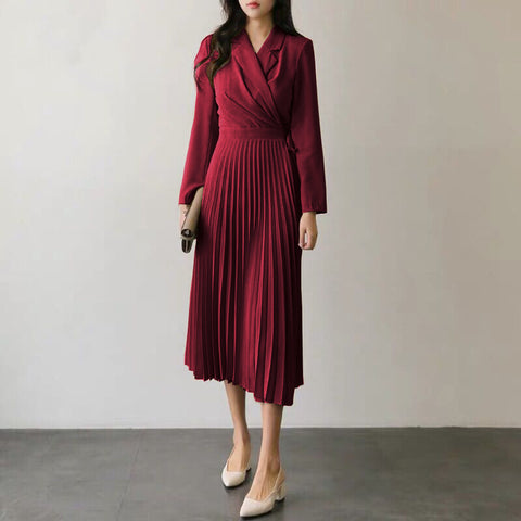 Turn-down collar pleated maxi dresses