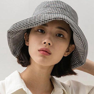 Houndstooth plaid cotton bucket hats