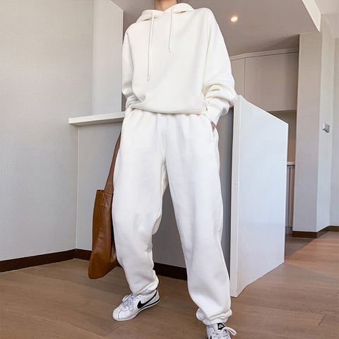 Hooded solid basic loose spring suits