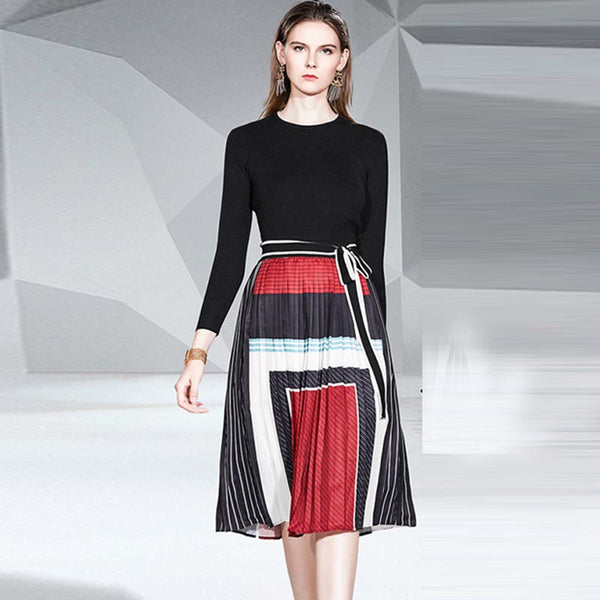 Color block patchwork sweater skirt suits