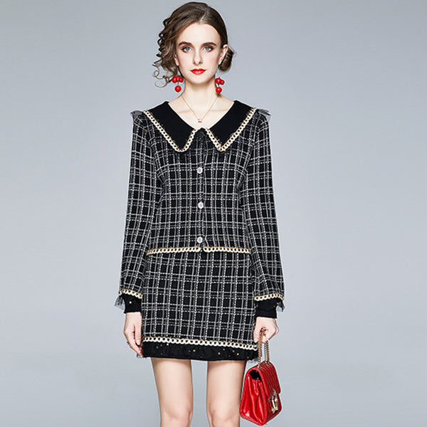 Lapel plaid lace edge skirt suits
