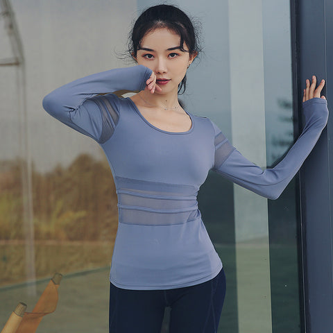 Pullover mesh patchwork active tops