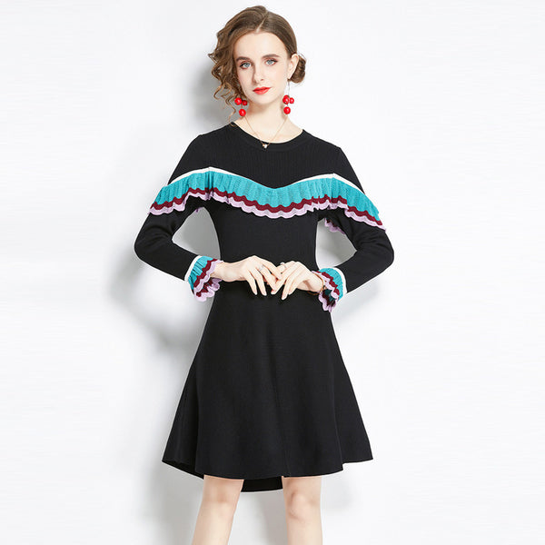 Long sleeve ruffled sweater dresses