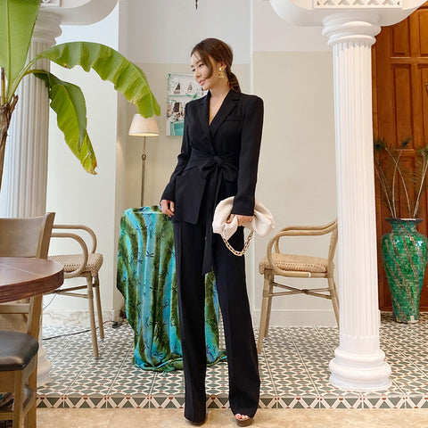Notched bowknot tied straight pant suits