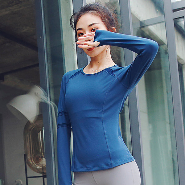 Crew neck mesh patchwork active tops