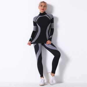 Print mock neck active suits
