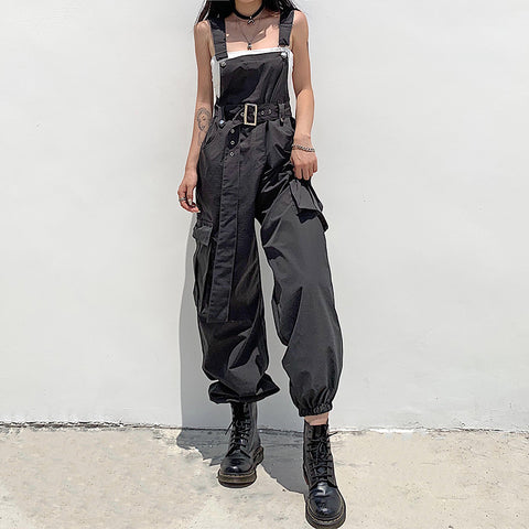 High waist belted cargo ankle-tied pants overalls