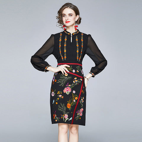Button front embroidered mesh dresses