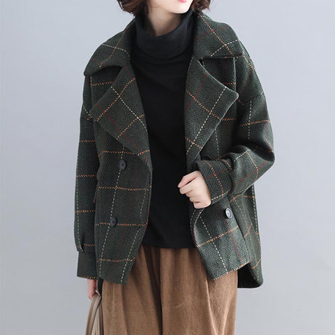 Plaid double-breasted short coats