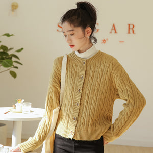 Crew neck twist single-breasted cardigans