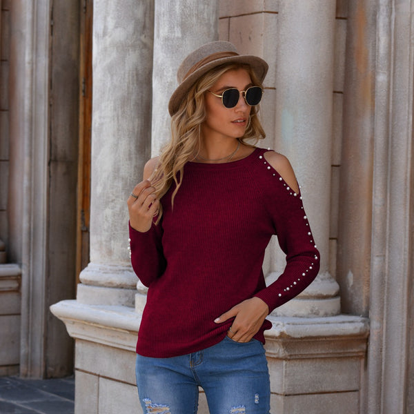 Beaded cold shoulder solid color sweaters
