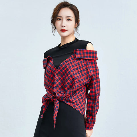 Cold shoulder mock neck plaid blouses