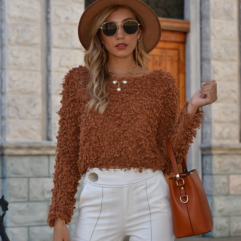 Crew neck solid thick short sweaters