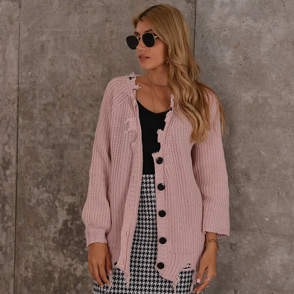 Long sleeve ripped asymmetric cardigans