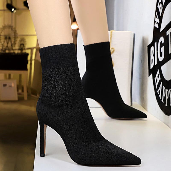 Pointed stretchy basic high heel ankle boots