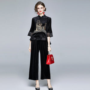 Velvet mock neck embroidered wide leg pant suits