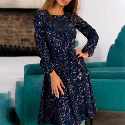 Crew neck print knee-length dresses