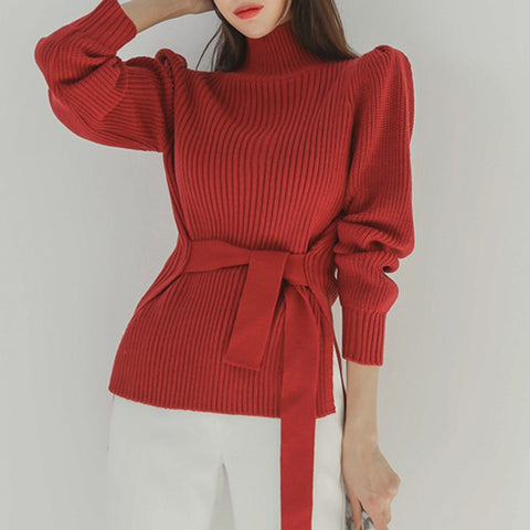 Turtleneck puff sleeve split sweaters
