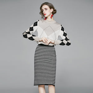 Geometric mock neck sweater skirt suits