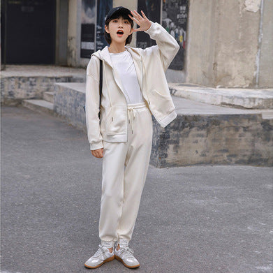 Hooded drawstring loose casual pant suits