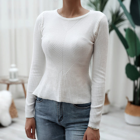 Knitted solid ruffle cinched waist tops