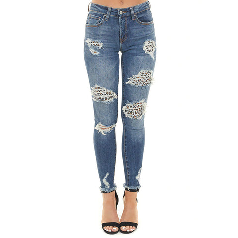 High waisted ripped pencil jeans