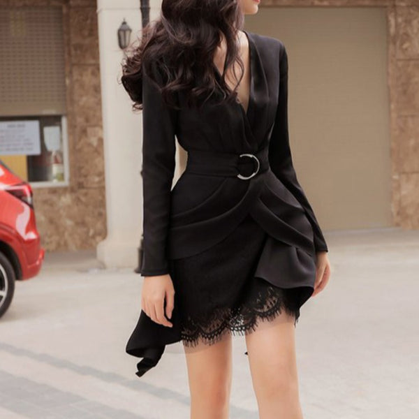 V-neck lace belted mini skirt suits
