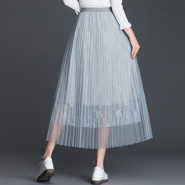 Lace splicing mesh a-line skirts - Fancyever
