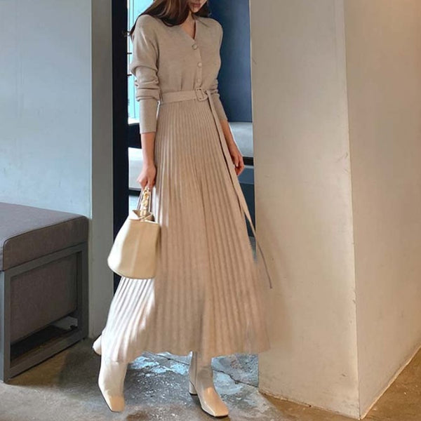 High waisted sweater pleated long dresses