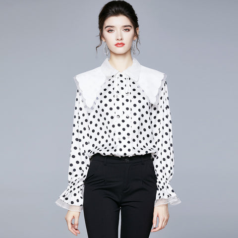 Turn down collar dot versatile lace elasticated blouses