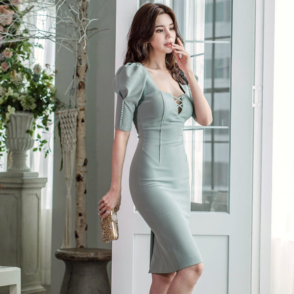 Sexy puff sleeve square neck bodycon dresses