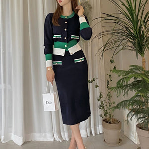 Crew neck single breast color block skirt suits