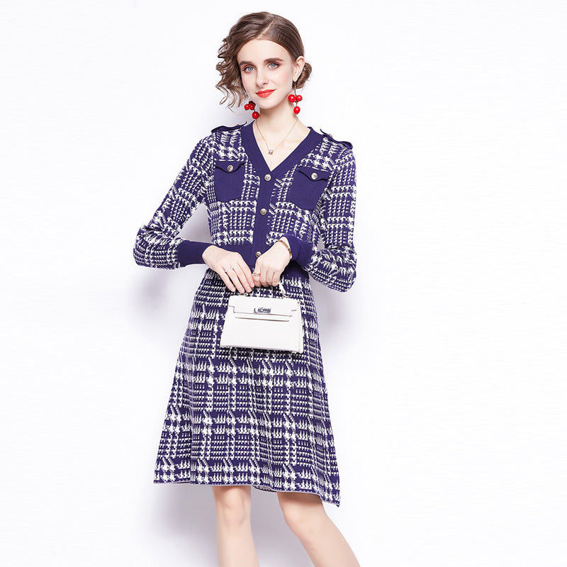 Plaid patchwork a line sweater dresses