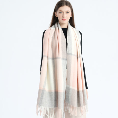 Faux cashmere plaid fringed scarves