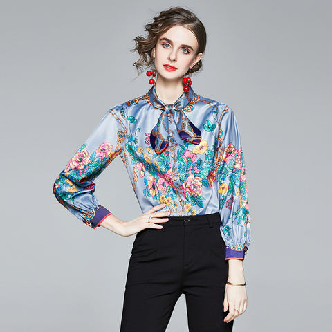 Crew neck printed floral tie blouses
