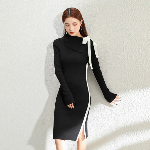 Black & white mock neck bow knot split sweater dresses