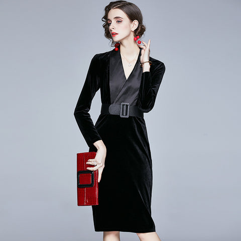 V neck cinched waist solid vintage bodycon dresses