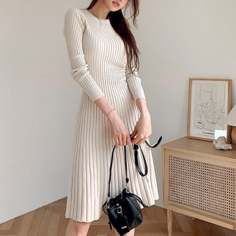 Crew neck a line knee-length knitted dresses