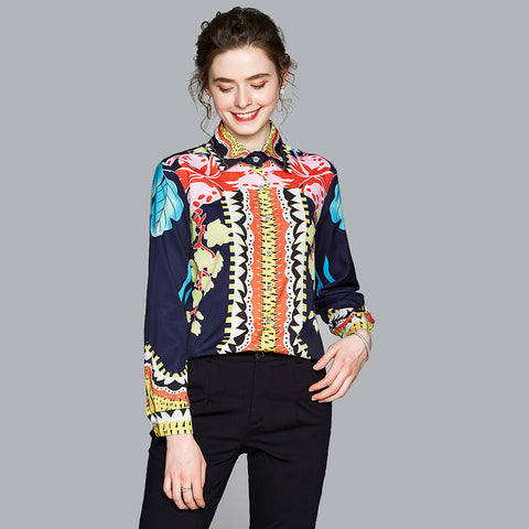 Long sleeve floral slim shirts