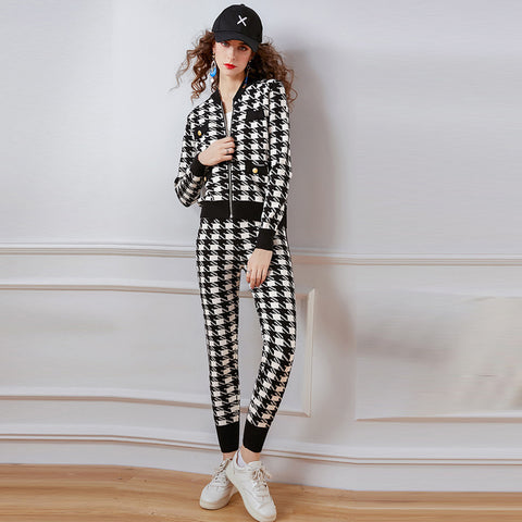 Plaid fitted color blocking spring suits