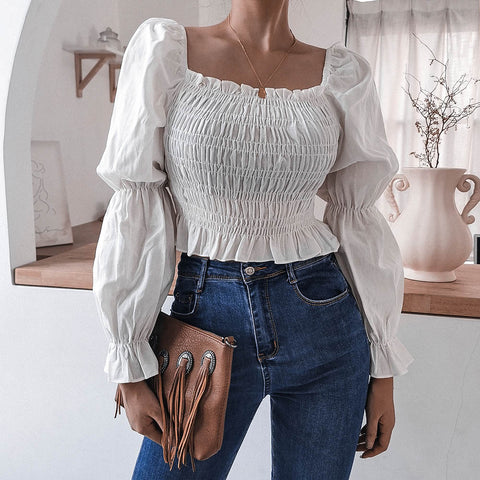 Square neck solid flared sleeve tops