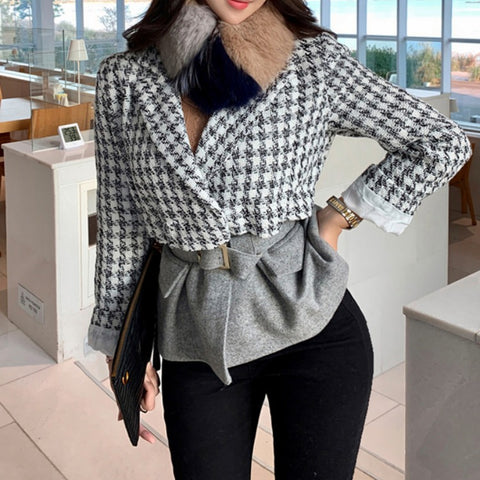 Notched houndstooth patchwork short coats