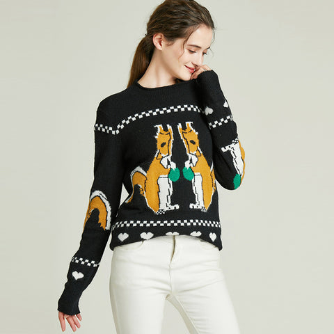 Pullover cartoon embroidered fitted sewaters