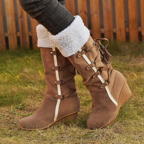 Lambswool fringed wedge mid-calf boots