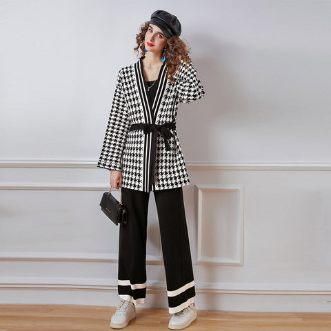 V neck loose plaid color-blocked knitted spring suits