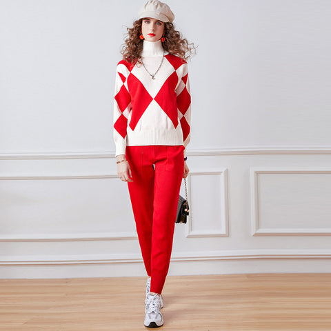 Turtleneck geometric color-blocked knitted spring suits