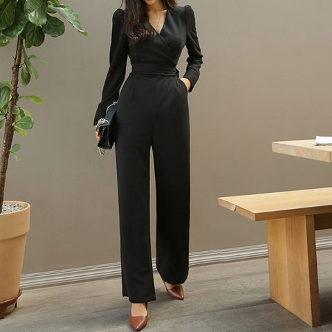 V-neck tight solid high waist spring suits